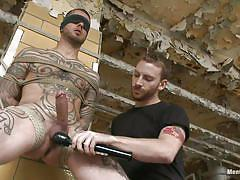 bdsm, blowjob, vibrator, blindfolded, tattooed, tied up, photographer, licking cock, gay, ropes, men on edge, kink men, logan mccree, logan mccree, men on edge, kinky dollars