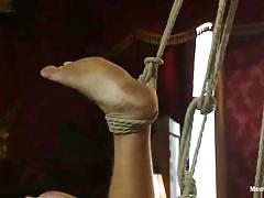 Hanged and cock rubbed