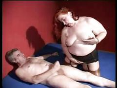 Redhead bbw housewife sucking and fucking