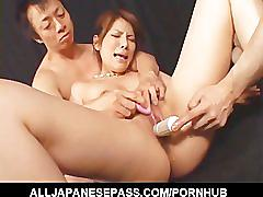 Sara nakamura big tits hanging out as her feet are licked