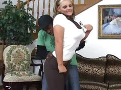 Big tits blonde takes the black boner