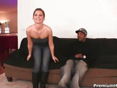 Skinny whore fucked by black man