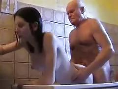 Mireck 80yo fucks claudia 24yo in shower
