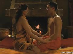 Sensual brunette massages and masturbates her man