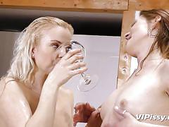 Lesbian babes having pissing party