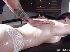 tattoo, massage, big cock, blowjob, big boobs, oiled, brunette, busty babe, dirty masseur, brazzers network, molly jane, ike diezel