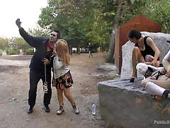 bdsm, blowjob, humiliation, tied up, submission, public disgrace, outdoors, breath play, busty babe, public disgrace, kink, chiara diletto, steve holmes, princess donna dolore