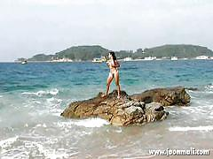 teen, thai, beach, outdoor, bikini, solo, posing, teasing, in water, joon mali, joon mali
