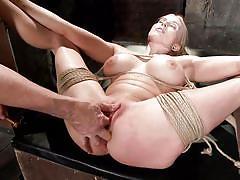 blonde, big tits, babe, slave, vibrator, fingering, tied up, rope bondage, hogtied, kink, christie stevens