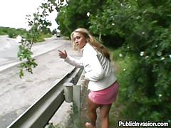 Roadside blonde fucking for money