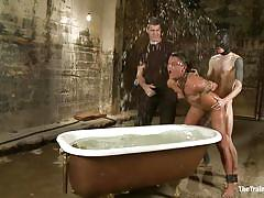 milf, mask, brunette, moaning, tied up, from behind, bathtub, ropes, executor, water bdsm, drawing, the training of o, kink, cassandra nix, owen gray, cassandra nix, owen gray, the training of o, kinky dollars