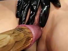British slut flick gets fucked with various cocks and things
