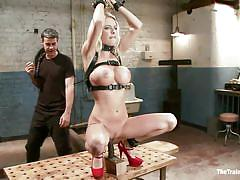 milf, blonde, bdsm, high heels, whipping, big boobs, dildo, tied up, prison cell, round breasts, leather belts, the training of o, kink, riley evans, riley evans, the training of o, kinky dollars