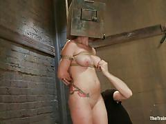 bdsm, redhead, big cock, mask, natural tits, frizzy hair, licking cock, ropes, executor, tied guy, mom, box on head, the training of o, kink, audrey hollander, wolf hollander, audrey hollander, wolf hollander, the training of o, kinky dollars