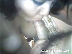 Big boobs gf sucking and rubbing cock