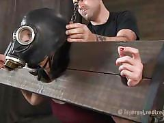 milf, bdsm, spanking, pantyhose, crying, brunette, gas mask, shackles, bastonnade, restraints, infernal restraints, elise graves, elise graves, infernal restraints, kinkster cash