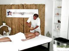 Hot blonde gets sexy body massaged