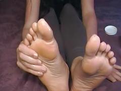 Size 12 big feet long toes oil massage
