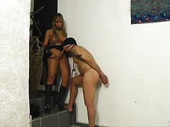Shemale whips and tortures her man slave