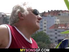 Horny father fucks his son's girlfriend
