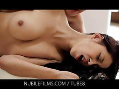 hardcore, brunette, busty, natural-tits, sex, sucking, cunnilingus, kissing, passion, cumshots, creampie, sperm, nubile-films