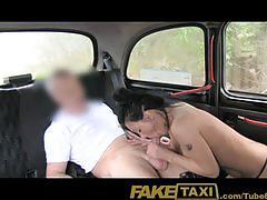 Faketaxi busty brunette in anal creampie