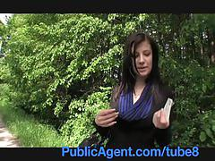 Publicagent eva takes cash for sex in the woods