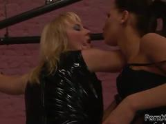 Sexy mistress plays lesbian games with her slave