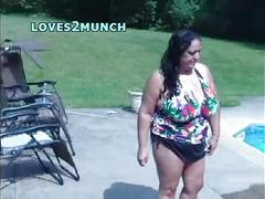 Me and my 47yr old busty indian fuck friend at the pool