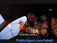 Publicagent cute brunette russian is fucked against my car