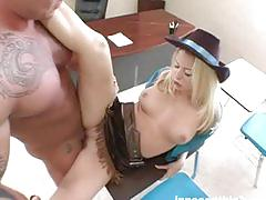 Hot blonde in cowboy outfit getting fucked hard by her teacher