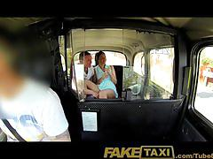 Faketaxi horny young swingers in taxi cab threesome