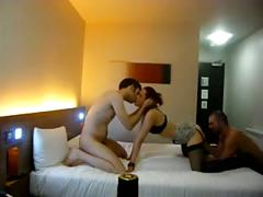 Group sex  - hot threesome at the hotel