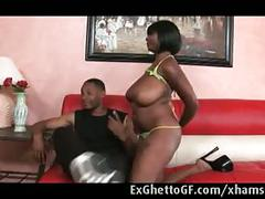 Black babe with huge tits fucked