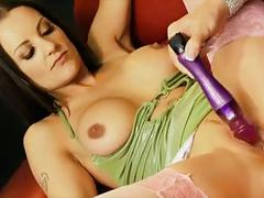 British slut tanya in a lesbian scene in purple stockings