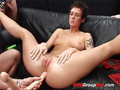 German bitch double toyed and gang-banged