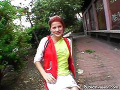 Redhead chick sucks my dick in public
