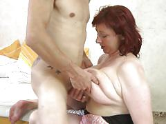 mature, redhead, blowjob, cougar, titjob, from behind, bouncing tits, saggy boobs, mature nl, jana p.