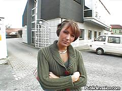 milf, money talks, public, pov blowjob, tight ass, brunette, from behind, pick up, public invasion, cristyna