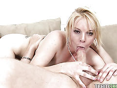 Blonde slut coerced into giving blowjob