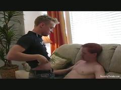 Horny gays love having sex at couch.