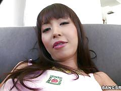 Asian slut shoves giant dildo in her ass