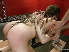 milf, bdsm, brunette, tied up, from behind, collar, ropes, clothespins, anal hook, sex and submission, kink, james deen, luna c. kitsuen