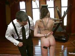 milf, bdsm, reality, group sex, brunette, tied up, ball gag, in chains, tray, the upper floor, kink, bella rossi, kristine kahill