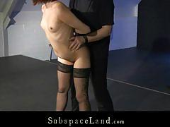 Sexy brunette jalace bound up and fucked