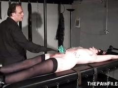 Bondage rack torture and amateur bdsm of tattooed private slavegirl