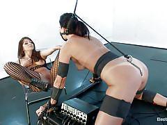 milf, bondage, lesbians, high heels, pantyhose, brunette, tied up, ball gag, electrodes, electro bdsm, electro sluts, kink, india summer, lea lexis