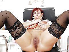 Nurse examines her juicy pussy