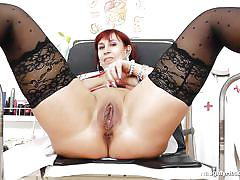 nurse, big boobs, dildo, tits licking, pussy gaping, gynecologist table, redhead mature, naughty head nurse, darja x