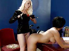 milf, spanking, sex slave, black hair, blonde mistress, latex costume, ball gagged, ass whipping, whipped ass, kink, lorelei lee, beretta james